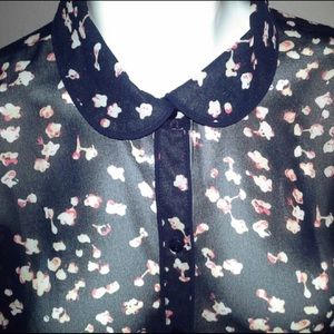 Navy Blossom Button Down Top